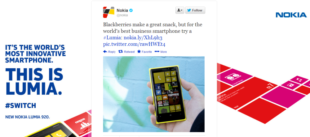 Nokia takes a swing at BlackBerry on Twitter!