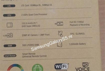 Samsung Galaxy S5 Specifications Leaked photo