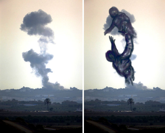 Palestinians Turn Smoke From Israeli Rocket Strikes Into Powerful Images!