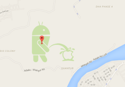 Here's why an Android Logo urinating on the Apple logo appeared in Google Maps and went Viral!